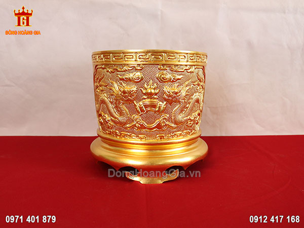 Bát hương bằng đồng dát vàng 9999