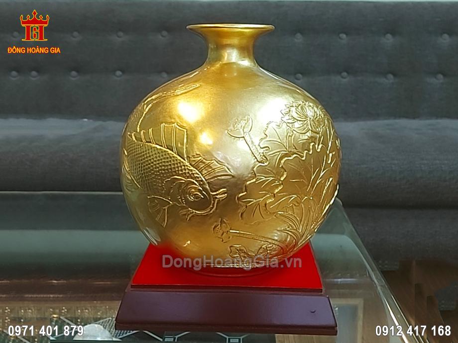 Bình Hút Lộc Bằng Đồng Dát Vàng 9999 23CM
