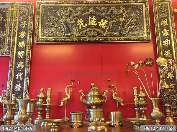 Bộ đồ thờ bằng đồng vàng đúc thủ công 50cm