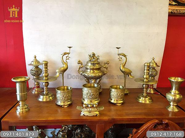 Đồ thờ cúng bằng đồng vàng đỉnh hoa sòi 50cm