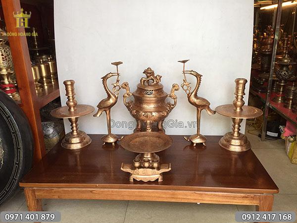 Bộ đồ thờ cúng đúc bằng đồng dây điện cao 50cm
