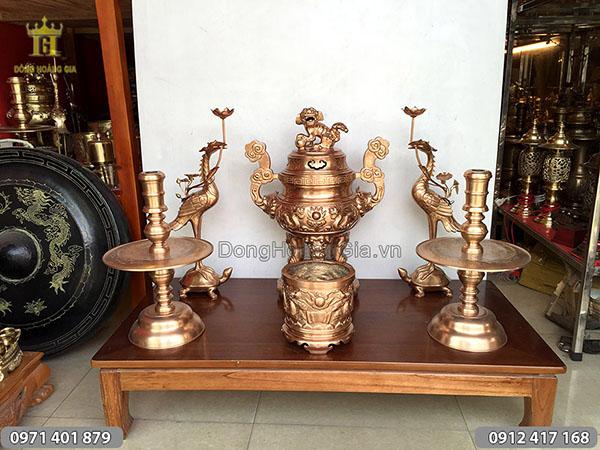 Bộ đồ thờ cúng bằng đồng nồi mẫu rồng nổi 60cm