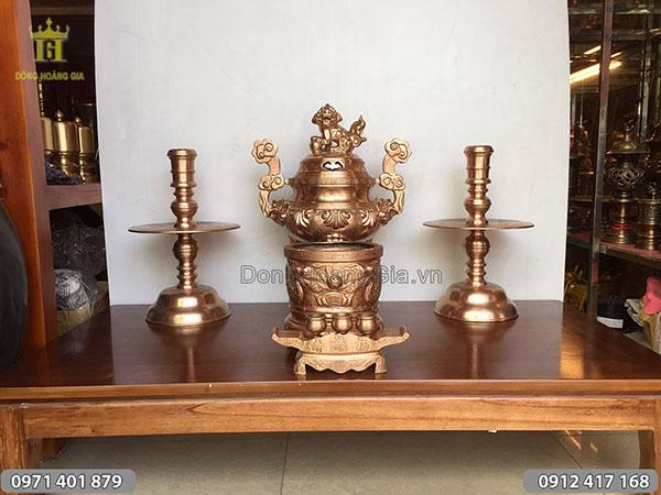 Bộ đồ thờ đúc bằng đồng nồi mẫu hoa sòi 50cm