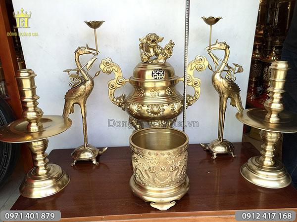 Bộ đồ thờ đồng vàng đỉnh Phúc Lộc Thọ cao 65cm