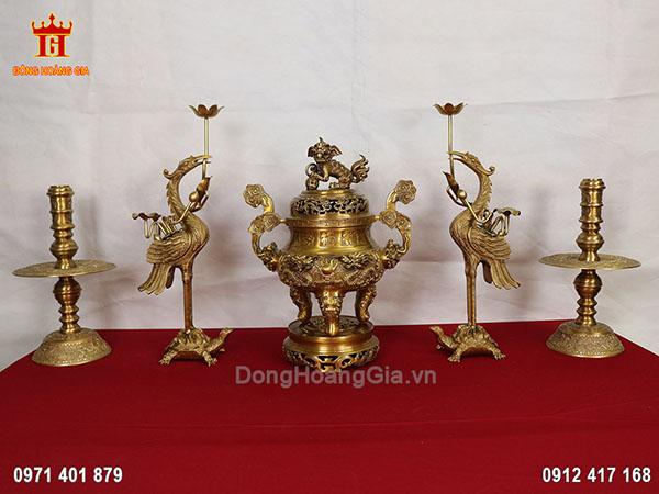 Bộ ngũ sự đỉnh rồng bằng đồng vàng