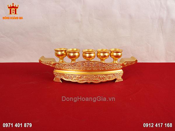 Bộ ngai 5 chén bằng đồng dát vàng 9999
