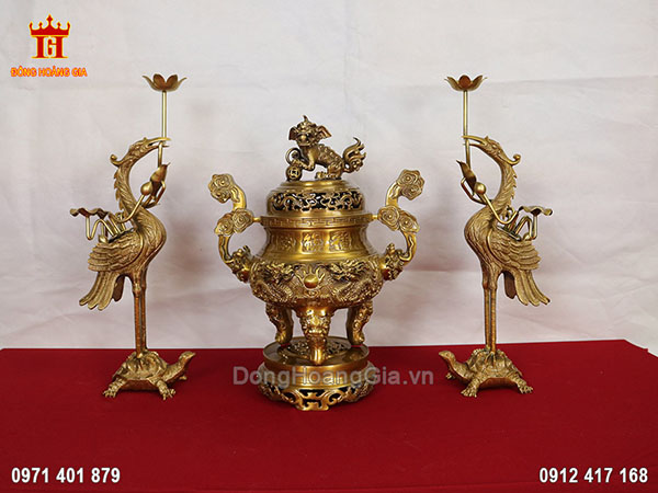 Bộ tam sự đỉnh rồng bằng đồng vàng cao cấp