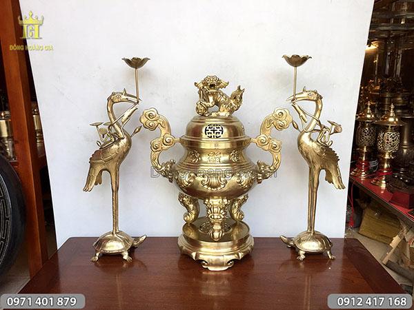 Bộ tam sự đồng vàng đỉnh sòi Phúc Lộc Thọ 65cm