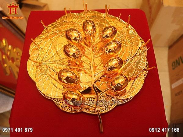 Bộ trầu cau bằng đồng dát vàng 24K cao cấp