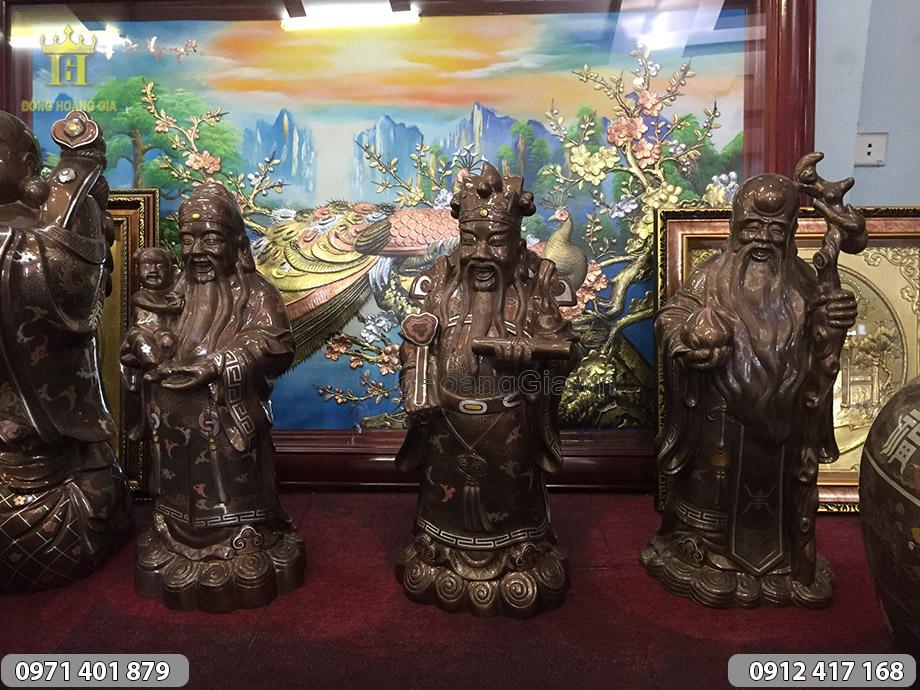Bộ tượng Tam Đa khảm ngũ sắc cao 50cm