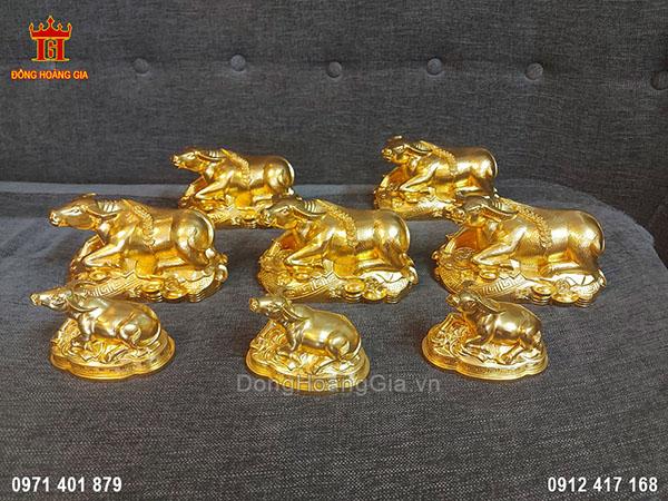 Bộ Tượng Trâu Bằng Đồng Dát Vàng 9999