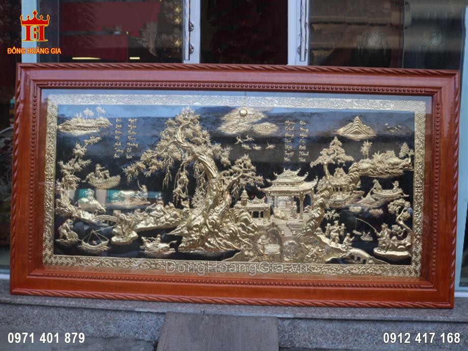 Bức tranh đồng quê bằng đồng vàng mạ vàng 24K 1m76