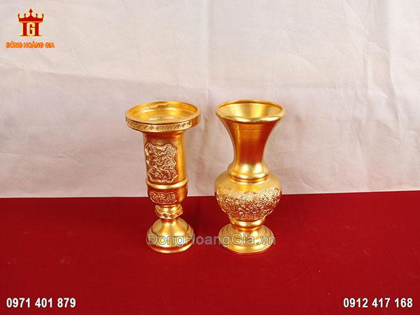 Cặp lọ hoa ống hương bằng đồng dát vàng 9999