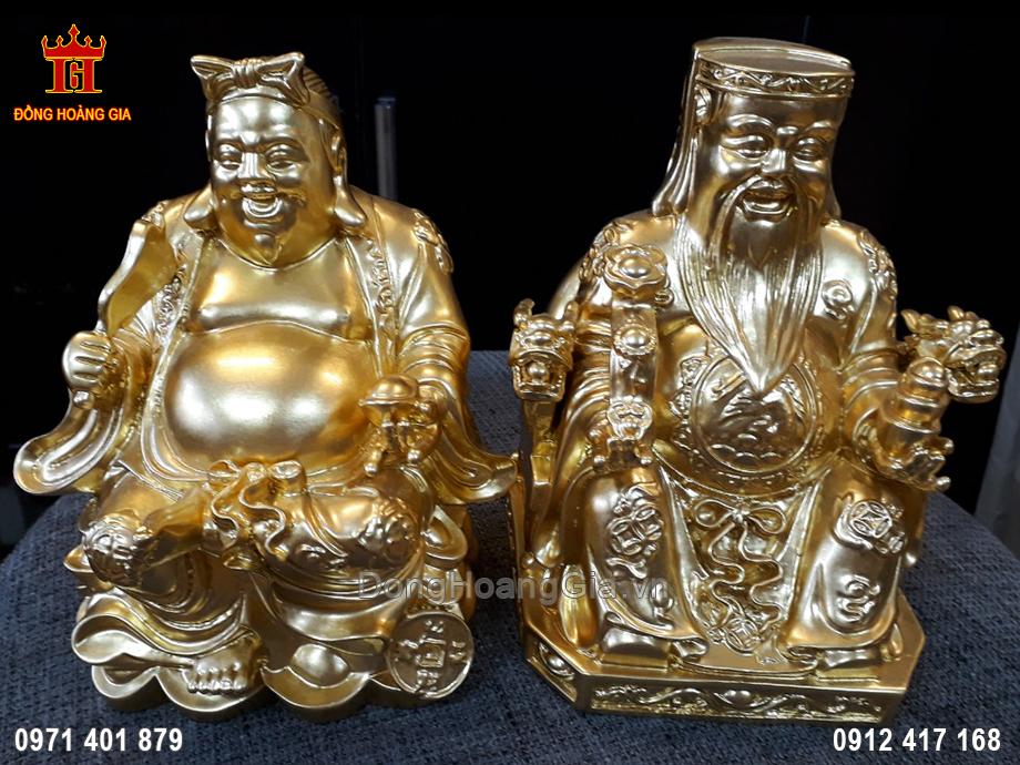 Cặp Tượng Đồng Thần Tài Ông Địa Dát Vàng 9999 18Cm