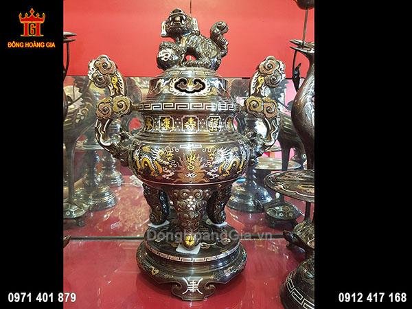Đỉnh Đồng Song Long Khảm Ngũ Sắc 61Cm