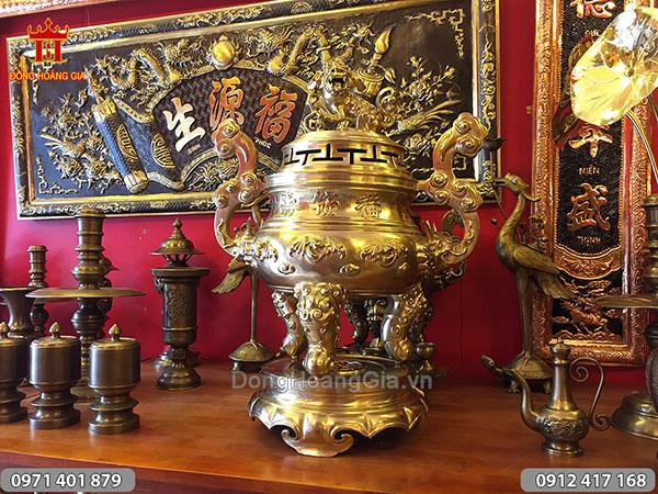 Đỉnh đồng vàng Dơi Phúc 70cm