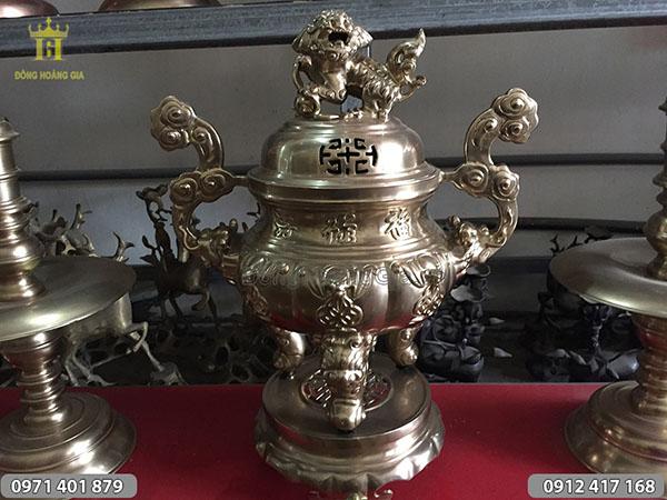 Đỉnh thờ bằng đồng Phúc Lộc Thọ 50cm