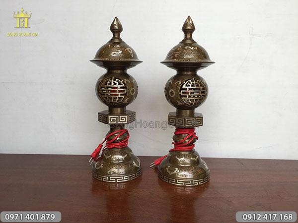 Đôi Đèn Đồng Khảm Tam Khí cao 47cm