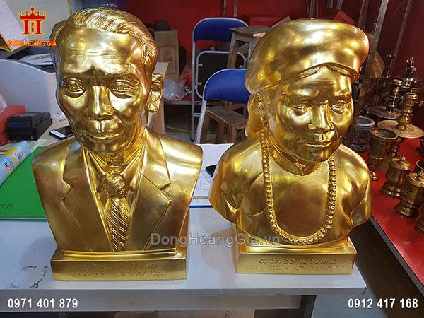 Đúc tượng truyền thần bán thân cụ ông cụ bà dát vàng 9999