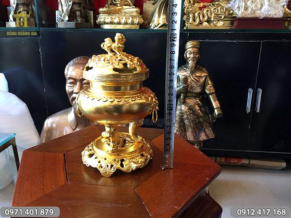 Lư đồng mini thiếp vàng cao 20cm