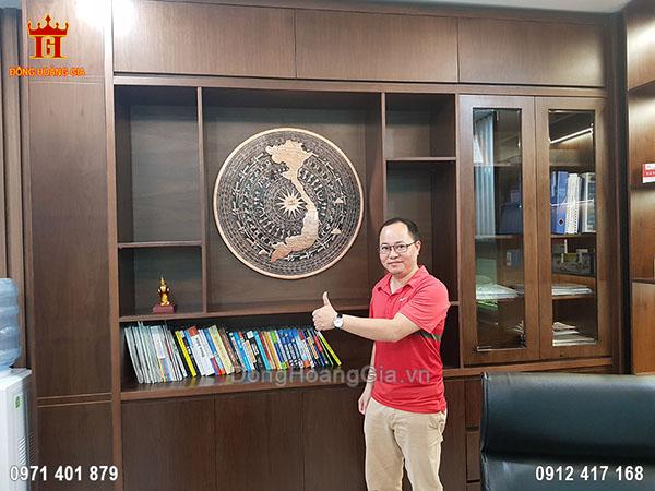 Mặt Trống Đồng Đúc Hình Bản Đồ Việt Nam Đồng Đỏ 80Cm