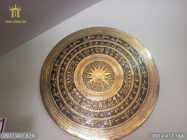 Mặt trống đồng vàng gò thủ công 1m1