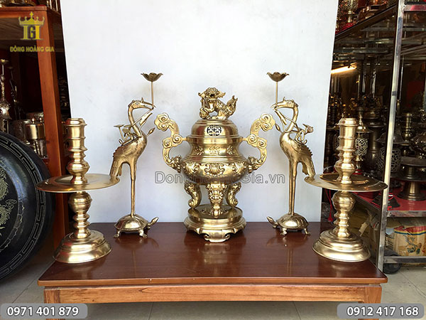 Ngũ sự bằng đồng vàng đỉnh Phúc Lộc Thọ 65cm