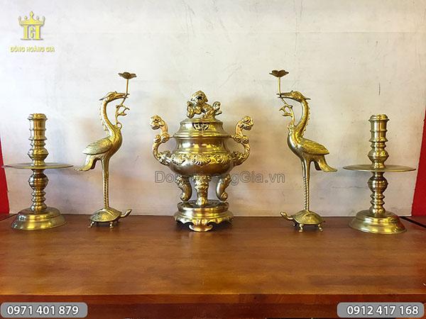 Ngũ sự đúc thủ công bằng đồng vàng mẫu đỉnh sòi cao 50cm