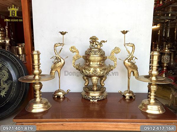 Ngũ sự bằng đồng vàng rồng nổi 60cm