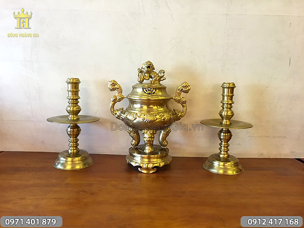 Bộ tam sự đúc bằng đồng vàng đỉnh hoa sòi 50cm