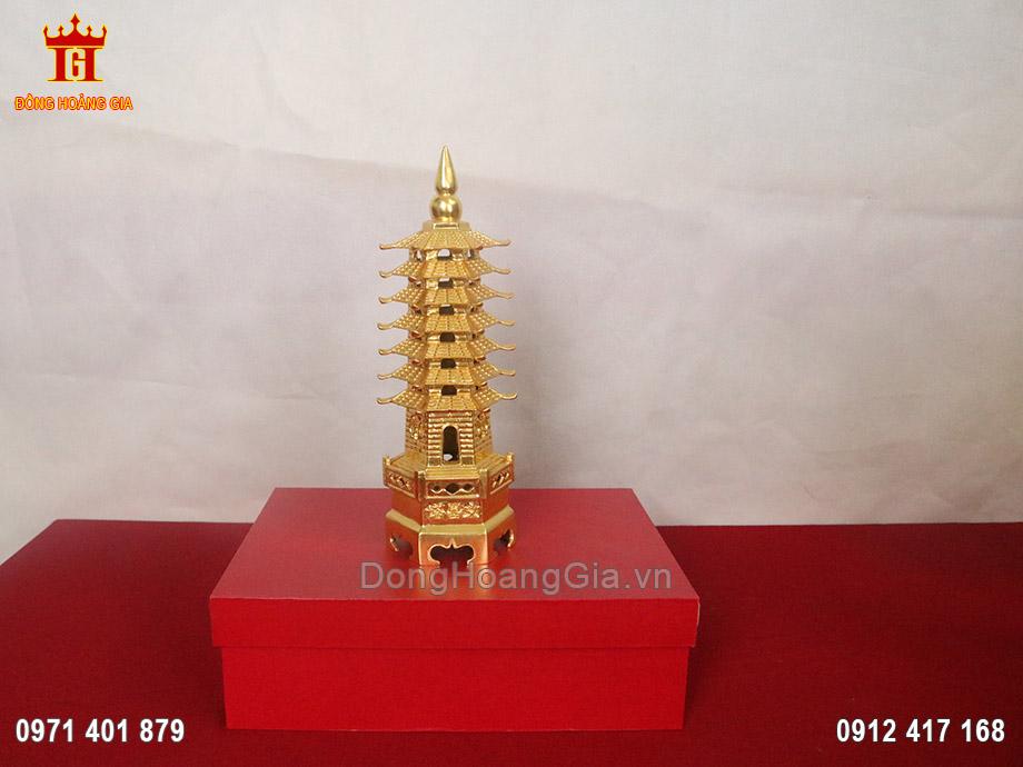 Tháp Văn Xương 7 tầng bằng đồng dát vàng 9999