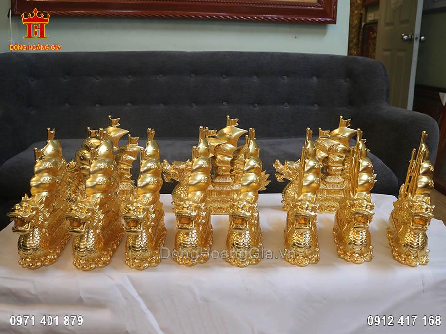 Thuyền rồng bằng đồng dát vàng 24k