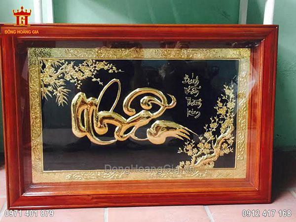 Tranh đồng chữ Nhẫn thư pháp mạ vàng 24K 91cm