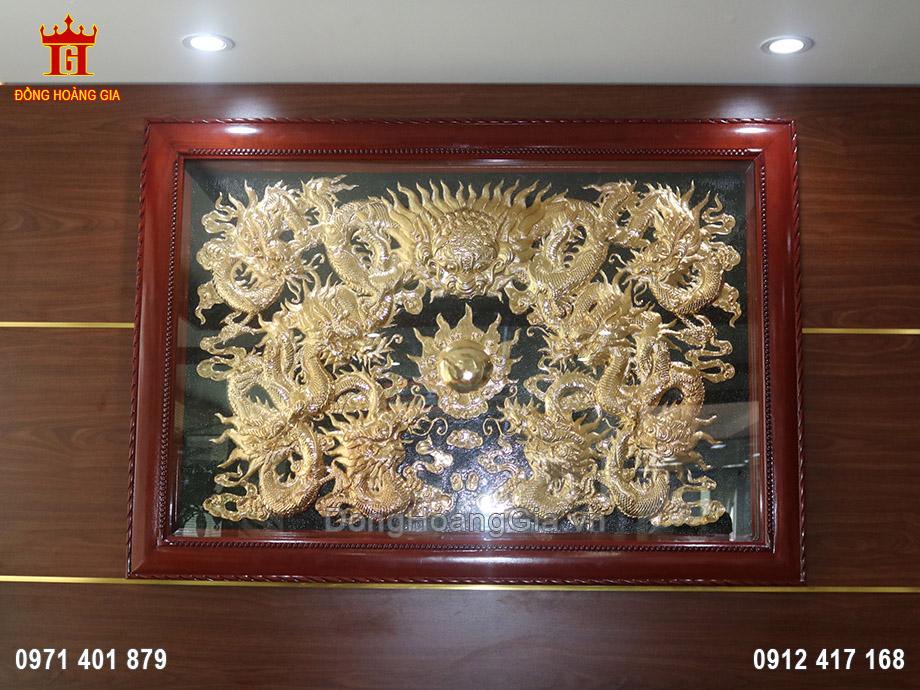 Tranh đồng Cửu Long tranh Châu mạ vàng 24K