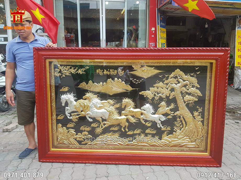 Tranh Đồng Mã Đáo Thành Công Mạ Vàng Mạ Bạc Khung Gỗ Hương 1M97