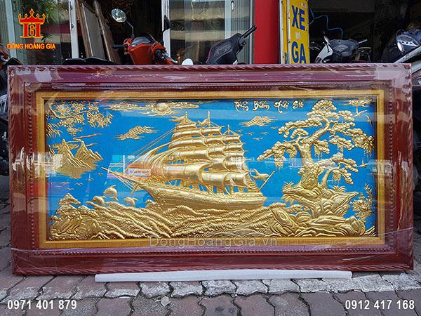 Tranh Đồng Thuận Buồm Xuôi Gió Dát Vàng 9999 1M55