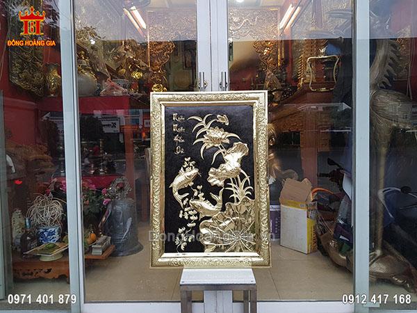 Tranh Đồng Vàng Hoa Sen Cá Chép 81Cm