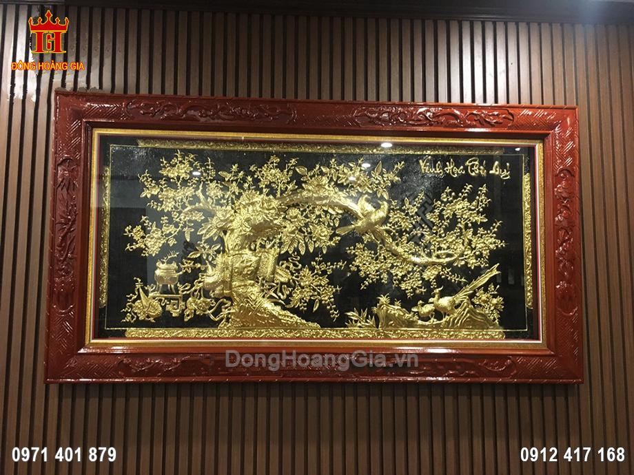 Tranh đồng vinh hoa phú quý dát vàng 9999 2m1