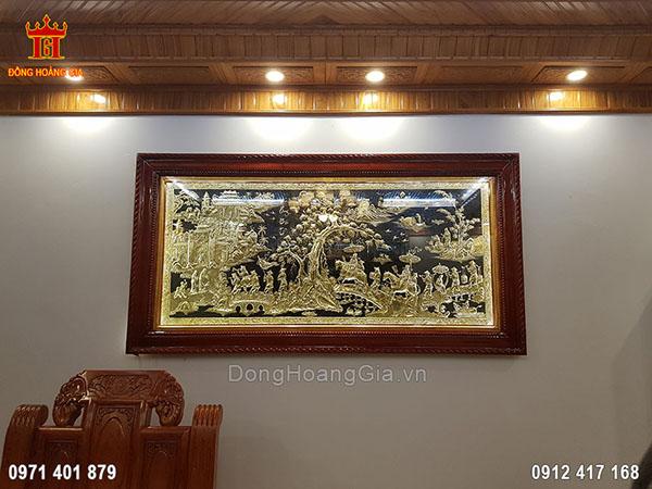 Tranh đồng Vinh Quy Bái Tổ khung gỗ lát 2m3