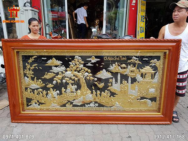 Tranh Đồng Vinh Quy Bái Tổ Mạ Vàng Mạ Bạc 2M3