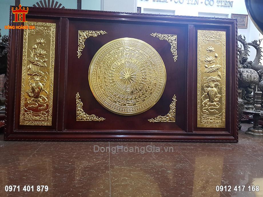 Tranh Mặt Trống Đồng Lục Bình Sen Mạ Vàng 24K 80cm