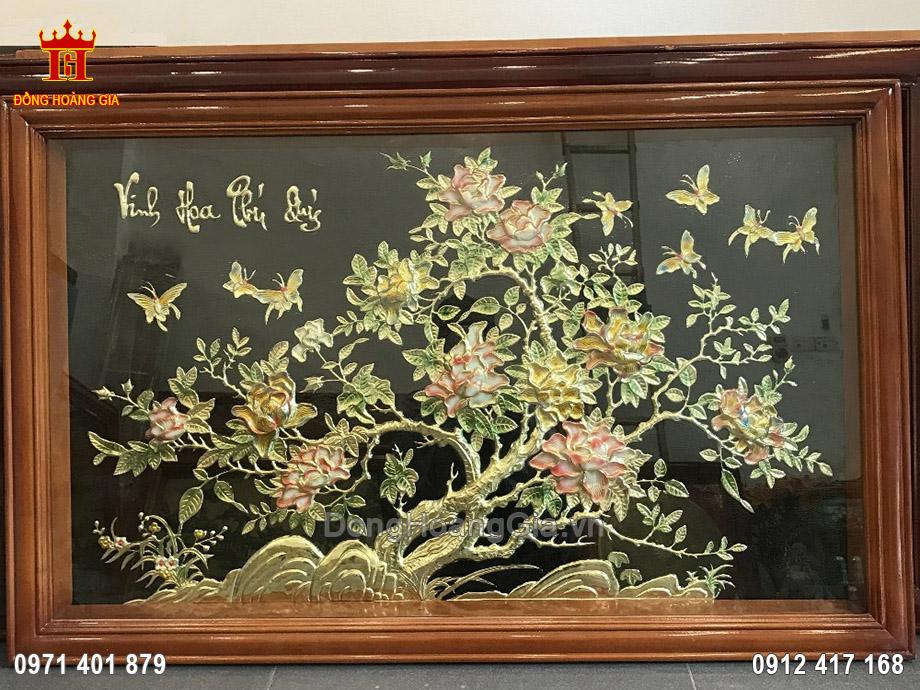 Tranh vinh hoa phú quý đồng vàng 1m35