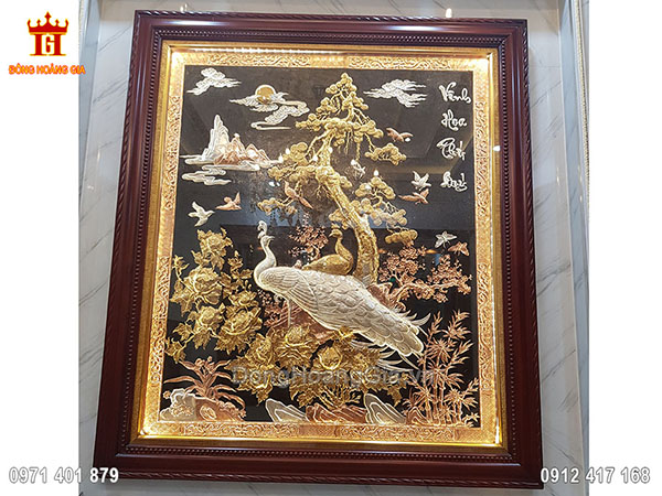 Bức tranh Vinh Hoa Phú Quý khổ đứng mạ tam khí 1m55