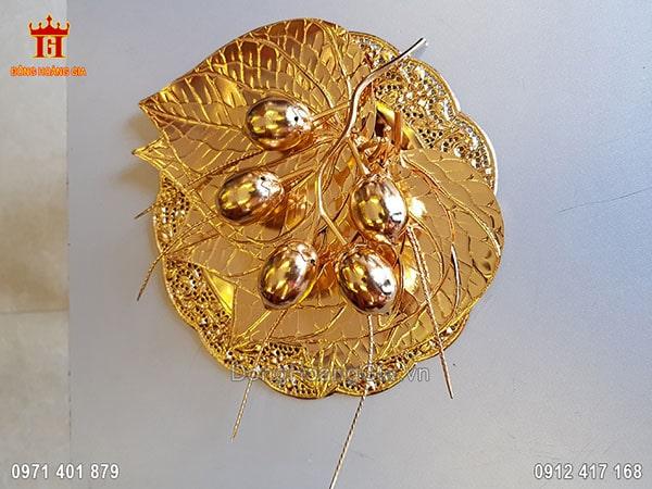 Bộ trầu cau bằng đồng dát vàng 24K