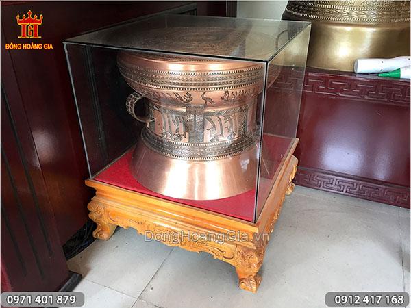 Trống Đồng Đỏ nắp kính chụp đường kính trống 40cm