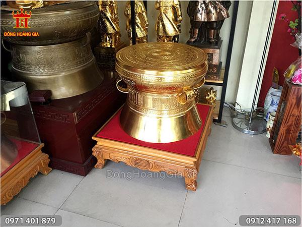 Trống Đồng Việt Nam Thiếp Vàng đường kính 40cm