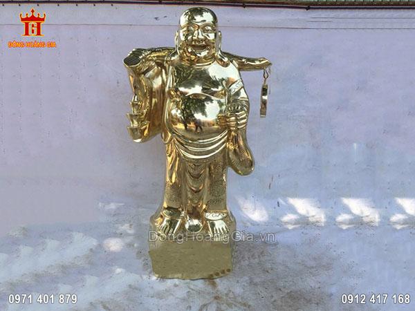 Tượng Phật Di Lặc Đồng Vàng Cát Tút Dáng Đứng 70Cm