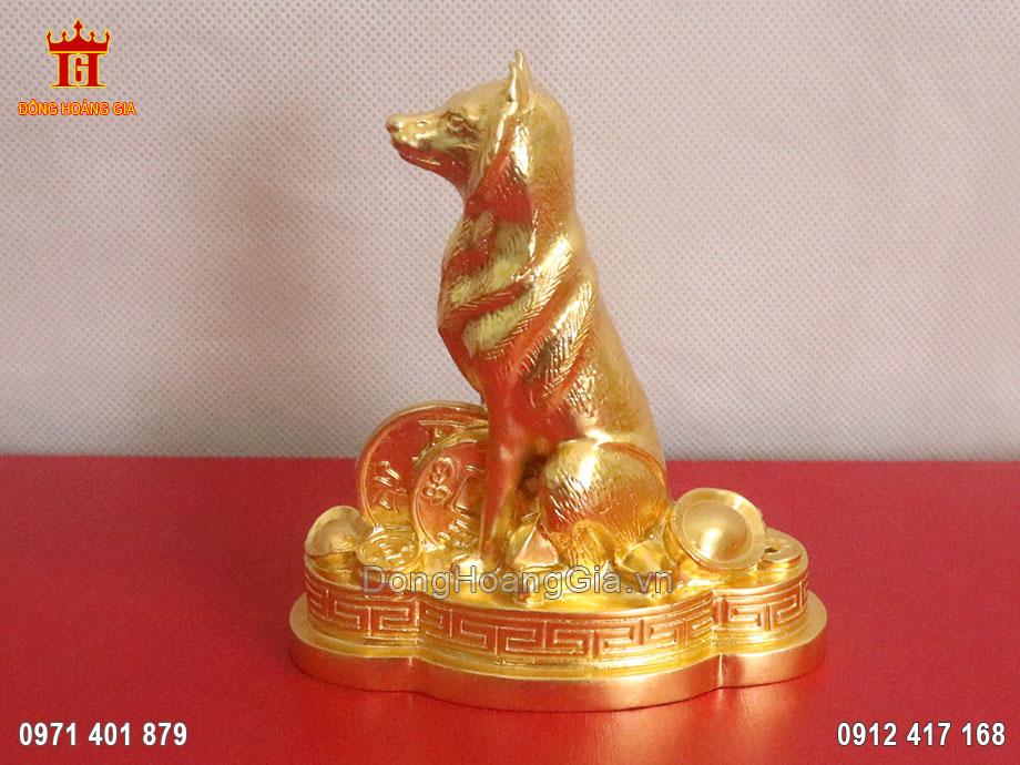Tượng đồng Chó phong thủy dát vàng 24K