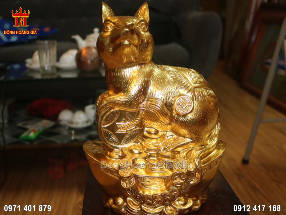 Tượng đồng Chuột phong thủy dát vàng 24K