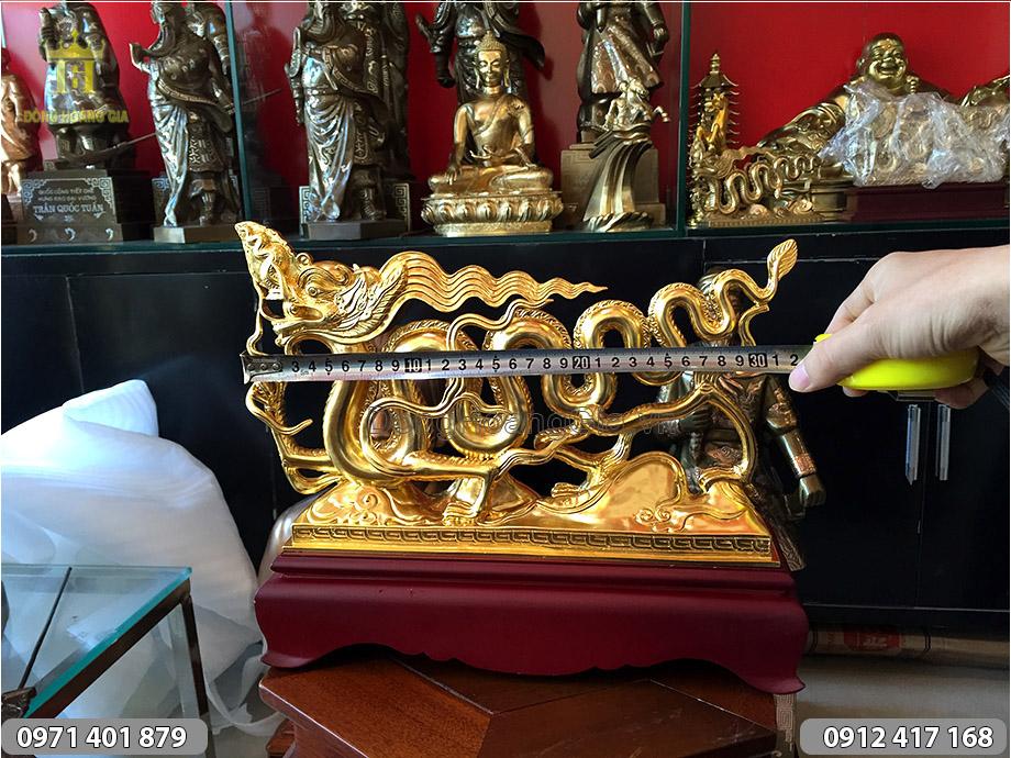 Tượng con Rồng dát vàng dài 30cm